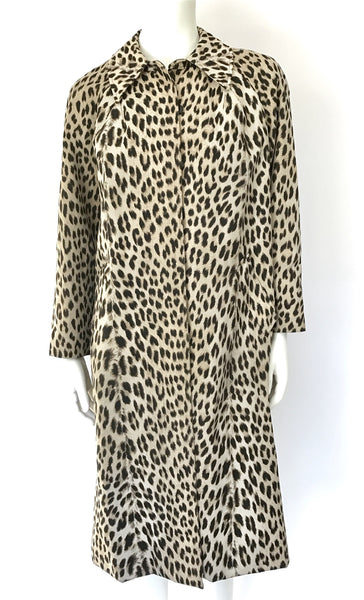1950s leopard print trench coat