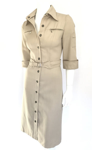 Khaki Seventies Safari Dress