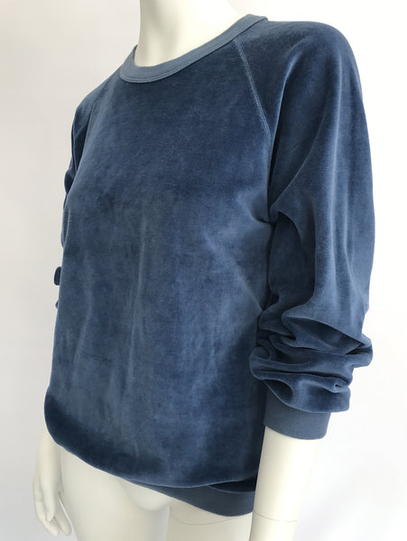 Blue Velour Sweatshirt