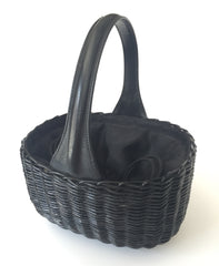 Black wicker basket handbag