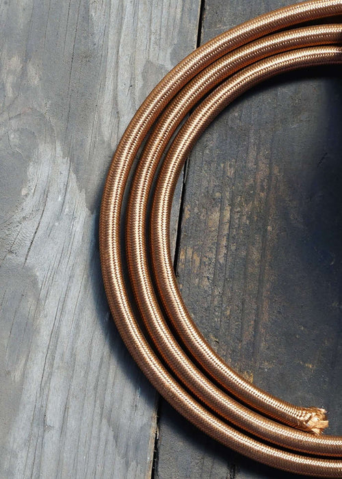 Fabric Lighting Cable - Round - Havana Gold Fabric Lighting Cable WeLoveLeds