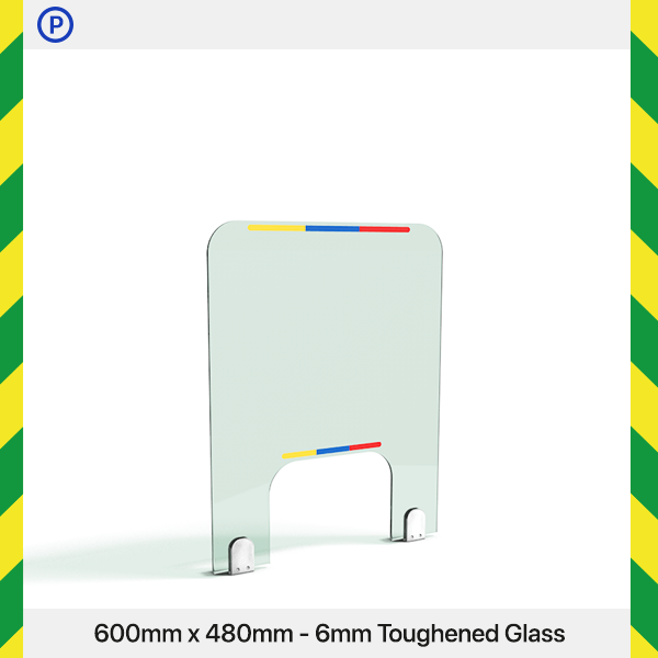 600h x 480w Sneeze Screen - 6mm Toughened Glass