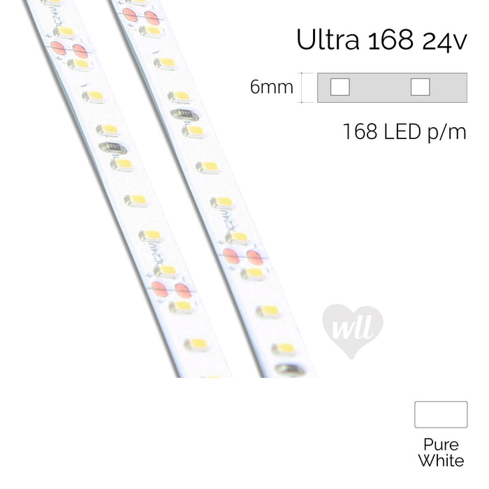 Ultra 168 LED Strip, 24v, 12w/m