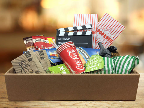Movie Night Gift Box (enough nachos, popcorn, props & sweets for 4 people)