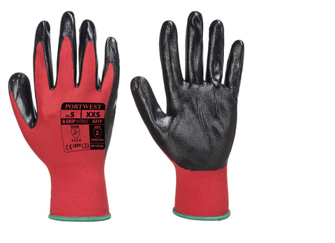 A319 Flexo Grip Nitrile Glove (with retail bag) Red / Black Portwest at Ted Johnsons