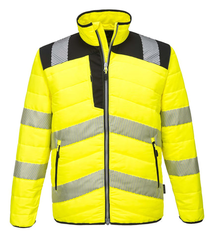 PW371 PW3 Hi-Vis Baffle Jacket Orange / Black Portwest at Ted Johnsons