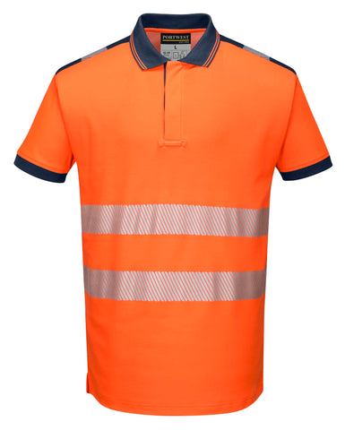 T180 PW3 Hi-Vis Polo Shirt S/S Orange Portwest at Ted Johnsons