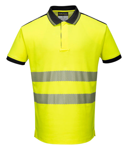 T180 PW3 Hi-Vis Polo Shirt S/S Yellow Portwest at Ted Johnsons