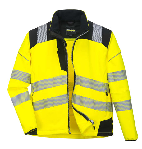 T402 PW3 Hi-Vis Softshell Jacket Yellow / Black Portwest at Ted Johnsons