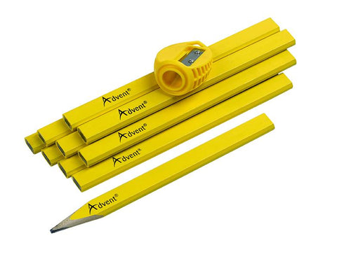 ADVENT 10 PK OF CARPENTERS PENCILS & SHARPENER