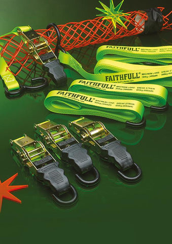 FAITHFULL 4 PACK OF RATCHET TIE DOWNS