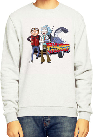 Rick And Morty x Back To The Future Parody Rick To The Future White Sweatshirt / Jumper - Merch Distributor - 1
