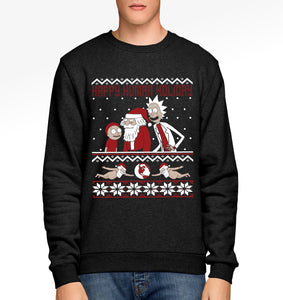 Rick And Morty Ugly Christmas Sweater.Rick And Morty Parody Happy Human Holiday Ugly Christmas Sweater