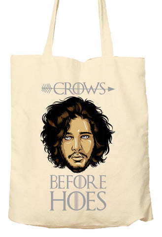 Crows Before Hoes - Game Of Thrones Parody - Environmentally Friendly Tote Bag, Natural Shopping Bag
