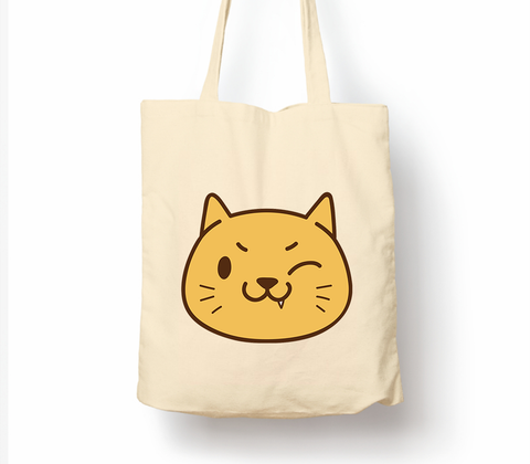 Cat Mood Mischievous - Tote Bag, Natural Shopping Bag, Environmentally Friendly Eco Friendly