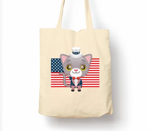 American Patriotic Independance Day Cat - Tote Bag, Natural Shopping Bag, Environmentally Friendly Eco Friendly