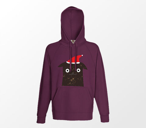 Christmas Cat Range No7 - Bored Christmas Cat - Burgundy Hoodie - Merch Distributor