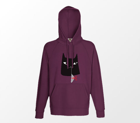 Christmas Cat Range No6 - Cat n Mouse! - Burgundy Hoodie - Merch Distributor