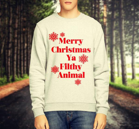 MERRY CHRISTMAS YA FILTHY ANIMAL CHRISTMAS JUMPER / SWEATSHIRT - Merch Distributor - 1