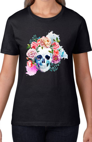 Flowers With Skull Black Womens Tshirt