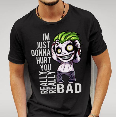 SUICIDE SQUAD STYLE JOKER 'HURT YOU' Black T-SHIRT - Merch Distributor