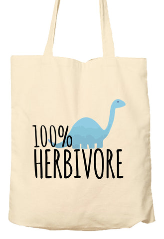 100% Herbivore - Vegan - Vegetarian - Environmentally Friendly Tote Bag, Natural Shopping Bag