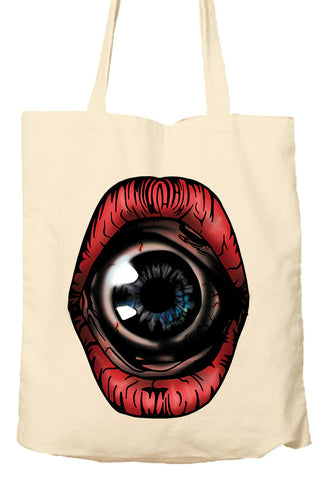 SURREAL HORROR EYEBALL MOUTH - Tote Bag, Natural Shopping Bag, Environmentally Friendly