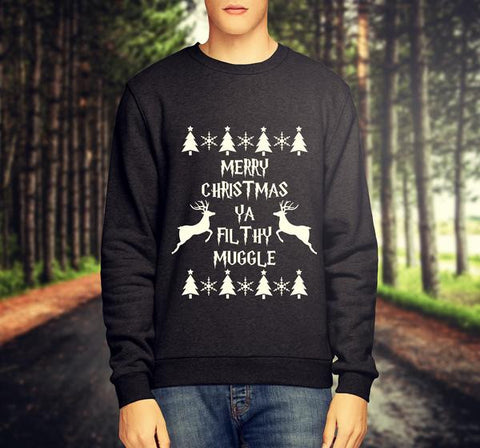 'MERRY CHRISTMAS YA FILTHY MUGGLE' WITH PATRONUS HARRY POTTER CHRISTMAS JUMPER / SWEATSHIRT - Merch Distributor - 1