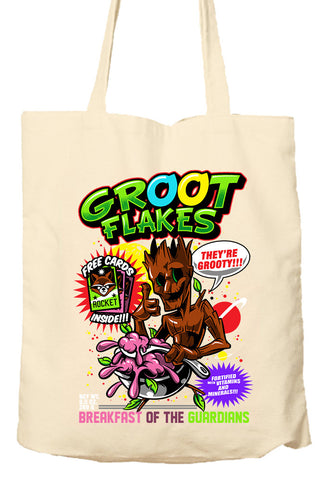 Groot Flakes - Guaridians Of The Galaxy Parody - Tote Bag, Natural Shopping Bag, Environmentally Friendly