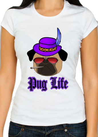 Pug Life - Thug Life Parody Womens T-Shirt - The Pimpest Of Pugs - Most Gangster Of Hounds - Pooch Supreme - Top Dog - Merch Distributor - 1