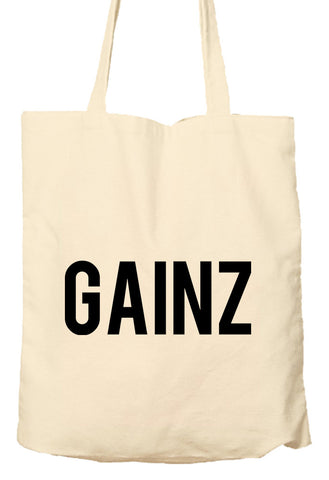 GAINZ - Tote Bag, Natural Shopping Bag, Environmentally Friendly