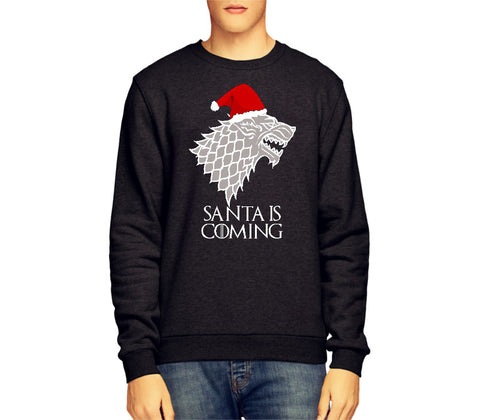SANTA IS COMING GAME OF THRONES STARK BANNER CHRISTMAS JUMPER / SWEATSHIRT - Merch Distributor - 1