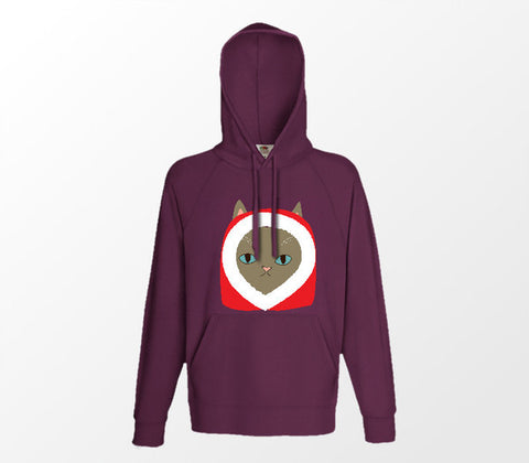 Christmas Cat Range No3 - Snuggle Cat! - Burgundy Hoodie - Merch Distributor