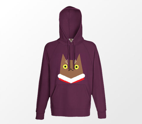 Christmas Cat Range No1 - Surprise Cat! - Burgundy Hoodie - Merch Distributor
