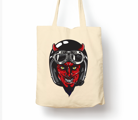 Devil Racer Stylish Cartoon - Tote Bag, Natural Shopping Bag, Environmentally Friendly Eco Friendly
