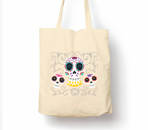Sugar Skulls Black Day Of The Dead Dia De Muertos - Tote Bag, Natural Shopping Bag, Environmentally Friendly Eco Friendly