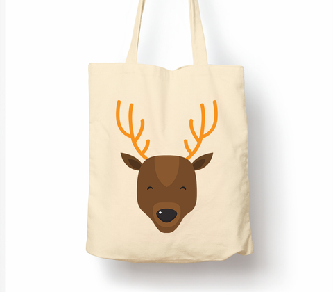 Happy Christmas Reindeer - Tote Bag, Natural Shopping Bag, Environmentally Friendly Eco Friendly