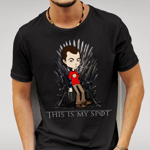 Big Bang Theory / Game Of Thrones Parody  -This Is My Spot - Black T-shirt - Merch Distributor