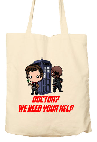 Doctor We Need Your Help - Marvel Avengers and Doctor Who Parody - Environmentally Friendly Tote Bag, Natural Shopping Bag