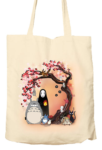 STUDIO GHIBLI CHARACTERS CHERRY BLOSSOM TREE MY NEIGHBOUR TOTORO NO FACE - Tote Bag, Natural Shopping Bag, Environmentally Friendly