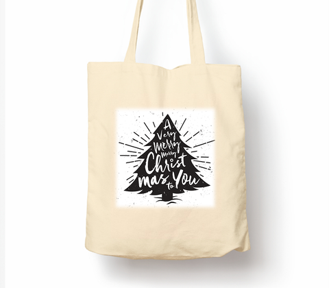 A Very Merry Merry Christmas To You Christmas Tree - Tote Bag, Natural Shopping Bag, Environmentally Friendly Eco Friendly