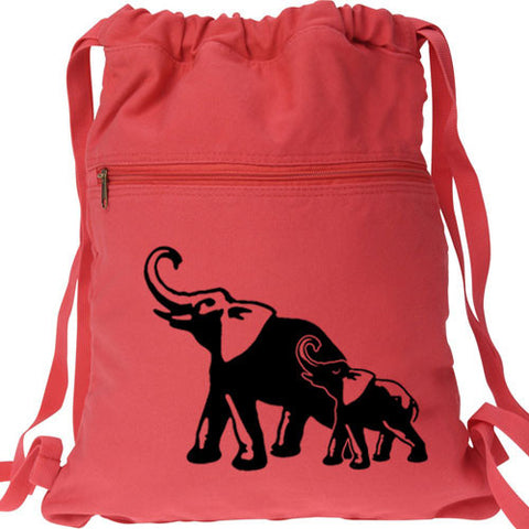 Mom and Baby Elephant Backpack red