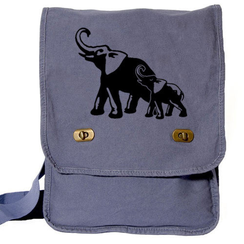 Elephants Messenger Bag blue