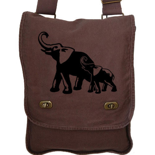 Elephants Messenger Bag brown