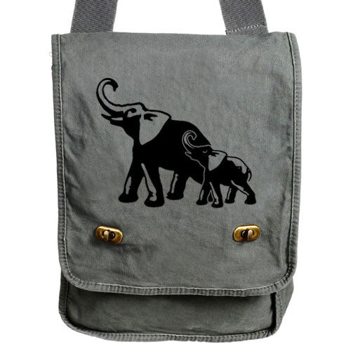 Elephants Messenger Bag gray