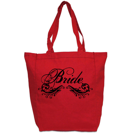 Bride Tote Bag for Wedding Day Red