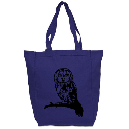 owl tote blue