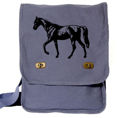 horse messenger bag blue