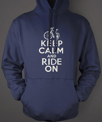keep calm ride on blue hoodie