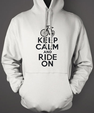 keep calm ride on white hoodie